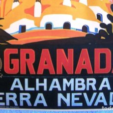 Carteles de Turismo: CARTEL POSTER RETRO - GRANADA ANDALUCIA - ALHAMBRA Y SIERRA NEVADA - P.N.T. REPUBLICA ESPAÑOLA. Lote 217977722