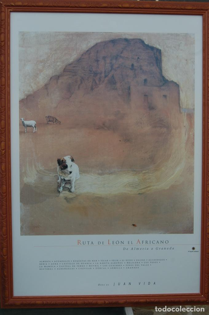 JUAN VIDA. PÓSTER DE LA RUTA DE LEÓN EL AFRICANO. DE ALMERÍA A GRANADA.BIEN ENMARCADO 107X76 (Coleccionismo - Carteles Gran Formato - Carteles Turismo)