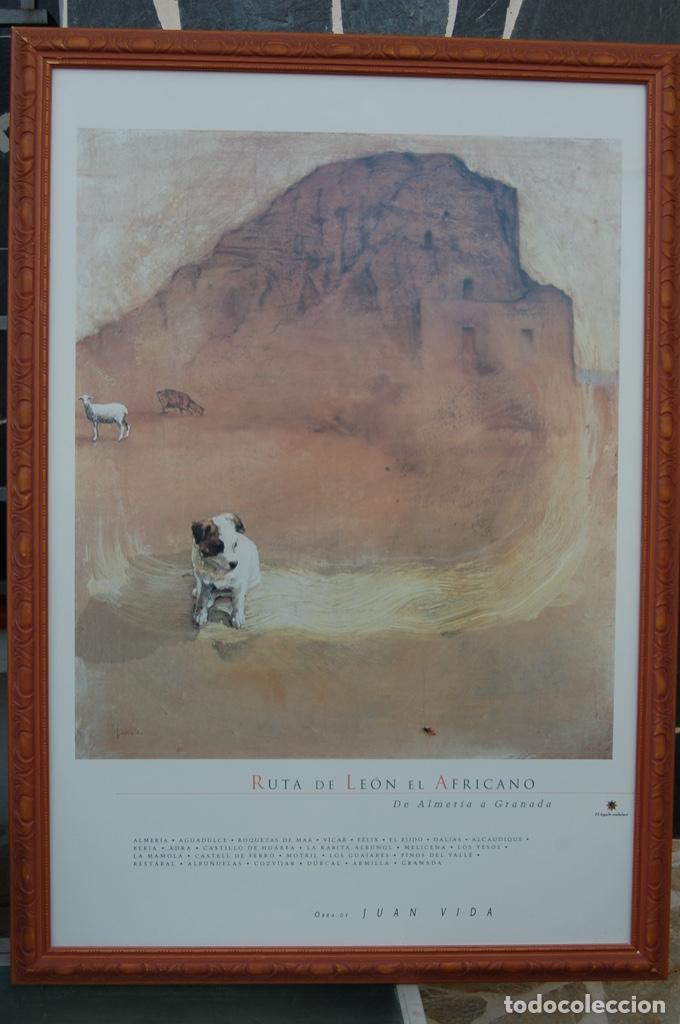 Carteles de Turismo: Juan Vida. Póster de la Ruta de León el Africano. De Almería a Granada.Bien enmarcado 107x76 - Foto 2 - 220718097