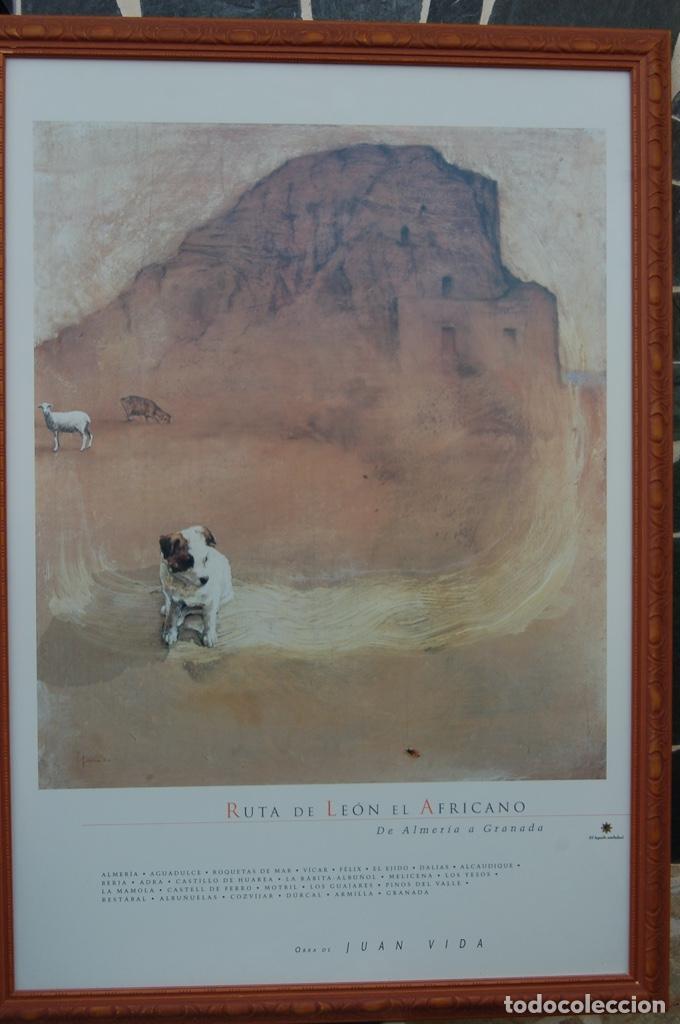 Carteles de Turismo: Juan Vida. Póster de la Ruta de León el Africano. De Almería a Granada.Bien enmarcado 107x76 - Foto 5 - 220718097