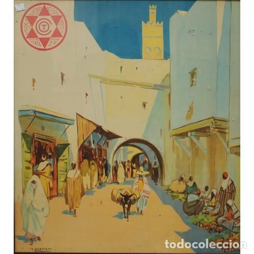 Carteles de Turismo: MARIANO BERTUCHI. 2 IMPRESIONES A COLOR. CARTELES TURÍSTICOS PUBLICIDAD. 67X61. ENMARCADO NUEVO. - Foto 2 - 221004467