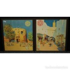 Carteles de Turismo: MARIANO BERTUCHI. 2 IMPRESIONES A COLOR. CARTELES TURÍSTICOS PUBLICIDAD. 67X61. ENMARCADO NUEVO.. Lote 221004467
