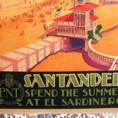 Carteles de Turismo: CARTEL POSTER SANTANDER- SARDINERO - CANTABRIA - PATRONATO NACIONAL TURISMO DE LA REPUBLICA ESPAÑOLA. Lote 221925246