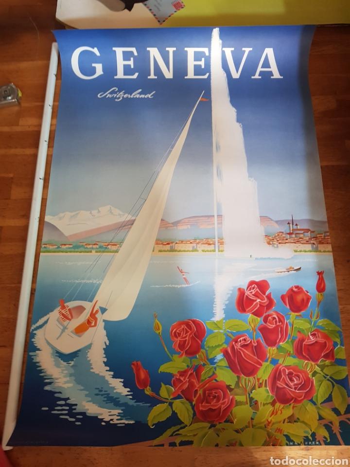 W. MAHRER AÑOS 50 CARTEL TURISMO VIAJE PUBLICIDAD GENEVE SWITZERLAND GENOVA RARO LIMITADO POSTER (Coleccionismo - Carteles Gran Formato - Carteles Turismo)