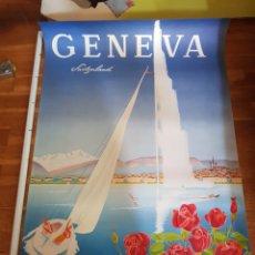 Carteles de Turismo: W. MAHRER AÑOS 50 CARTEL TURISMO VIAJE PUBLICIDAD GENEVE SWITZERLAND GENOVA RARO LIMITADO POSTER. Lote 226746825