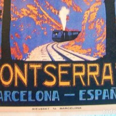 Carteles de Turismo: CARTEL POSTER RETRO - MONTSERRAT BARCELONA CATALUÑA - FERROCARRILS DE MONTAÑA DE LA GENERALITAT 1930. Lote 227097570