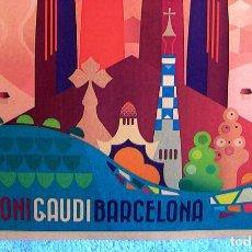 Carteles de Turismo: CARTEL POSTER RETRO MODERNISTA - ANTONI GAUDI - BARCELONA, CATALUÑA - CATEDRAL, SAGRADA FAMILIA.. Lote 228450240