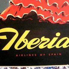 Carteles de Turismo: CARTEL POSTER RETRO VINTAGE - VENTANAS DE ANDALUCIA - VUELE CON IBERIA LINEAS AEREAS DE ESPAÑA. Lote 228451055