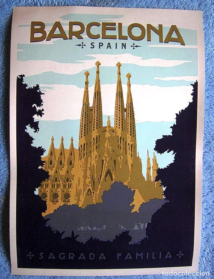 Carteles de Turismo: CARTEL POSTER RETRO - BARCELONA SAGRADA FAMILIA CATEDRAL - CATALUÑA. - Foto 3 - 234927095