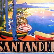 Carteles de Turismo: CARTEL POSTER - RETRO VINTAGE - SANTANDER, SU BAHIA Y PALACIO DE LA MAGDALENA. CANTABRIA. Lote 243472815