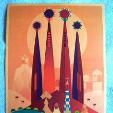 Carteles de Turismo: CARTEL POSTER RETRO MODERNISTA - ANTONI GAUDI - BARCELONA, CATALUÑA - CATEDRAL, SAGRADA FAMILIA.. Lote 246075295