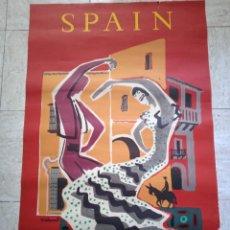 Carteles de Turismo: CARTEL EN SERIGRAFIA DE SPAIN FIRMADO POR VILLEMOT. 62 X 88 CM AÑOS 50-60. Lote 252333440