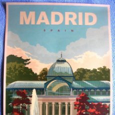 Carteles de Turismo: CARTEL POSTER RETRO TURISMO - MADRID BUEN RETIRO PARK AND THE CRYSTAL PALACE. SPAIN.. Lote 254801175