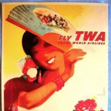 Carteles de Turismo: CARTEL POSTER RETRO VINTAGE - VISITE ESPAÑA - TWA TRANS WORLD AIRLINES - ESTADOS UNIDOS.. Lote 277038948