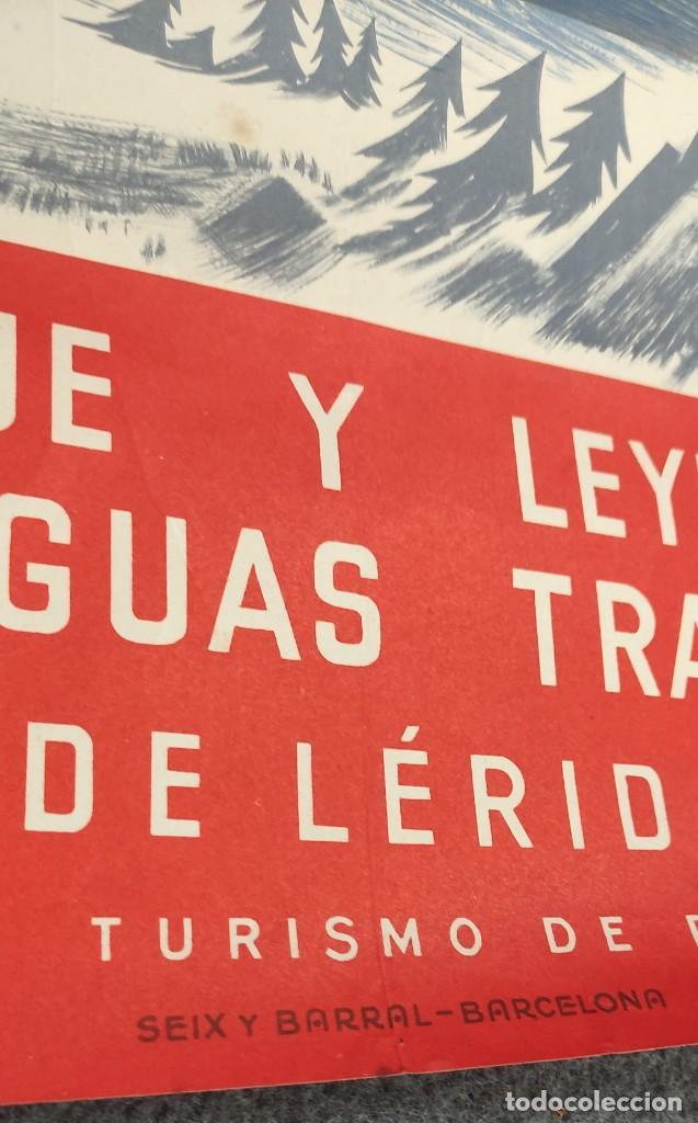 Carteles de Turismo: POSTER CARTEL PIRINEOS LERIDA - ILUSTRA MONENY - AÑOS 50 - BOSQUE Y LEYENDAS SOBRE AGUAS TRANQUILAS - Foto 3 - 287571933
