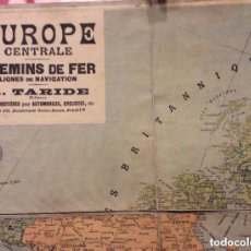 Carteles de Turismo: EUROPE CENTRALE CHEMINS DE FER LIGNES DE NAVIGATION-A.TARIDE 100X80 CM-CIRCA 1900. Lote 292088153