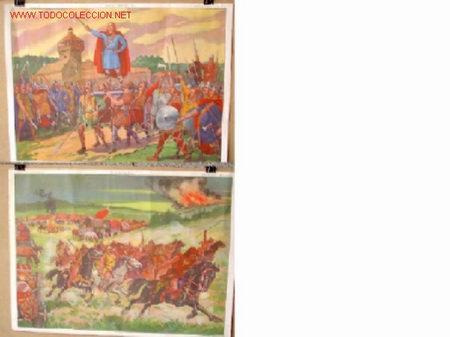 CARTELES DE HISTORIA DE ESCUELA FRANCESES .. AÑOS 50 - 60 .. MILITAR (Coleccionismo - Carteles Gran Formato - Carteles Varios)