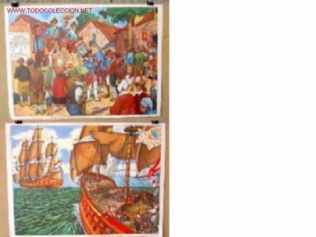 CARTELES DE HISTORIA DE ESCUELA FRANCESES .. AÑOS 50 - 60 .. MILITAR - BARCO (Coleccionismo - Carteles Gran Formato - Carteles Varios)