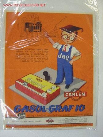 PUBLICIDAD GASOL-GRAFIO LUBRIFICANTE SOLIDO PARA PARTES ALTAS DE CILINDROS - AÑOS 1950-60 (Coleccionismo - Carteles Gran Formato - Carteles Varios)