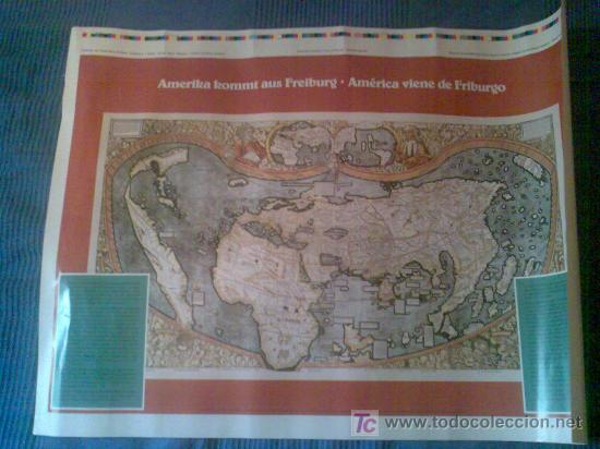 CARTEL 'AMERIKA KOMMT AUS FREIBURG'. CON MAPA DE WALDSEMÜLLER, S. XVI. EN ESPAÑOL Y ALEMÁN. (Coleccionismo - Carteles Gran Formato - Carteles Varios)