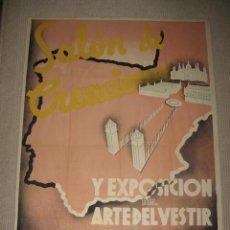 Carteles: SALÓN DE CREACIONES Y EXPOSICIÓN DEL ARTE DEL VESTIR. BARCELONA 1935. P. CLAPERA. MODA. 100 X 70 CM. Lote 25401744