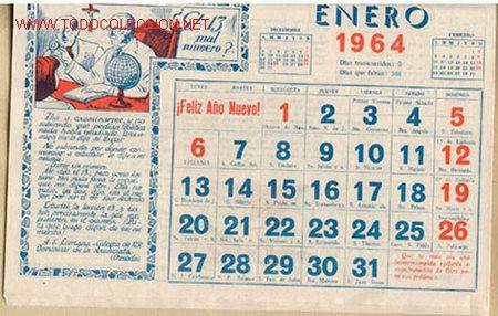 Carteles: CALENDARIO COMPLETO del AÑO 1964 - Foto 2 - 27222527