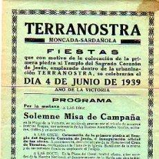 Carteles: INTERESANTE MINI CARTEL-DE MONCADA-SARDAÑOLA-TERRANOSTRA-PROGRAMA 1939-AÑO DE LA VICTORIA. Lote 20314097