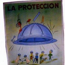 Carteles: CARTEL. COMISIÓN SEGURIDAD EMPRESA SIDERURGICA. LA PROTECCION, ASEGURA TU TRABAJO. CASCO. 1961. Lote 22442050
