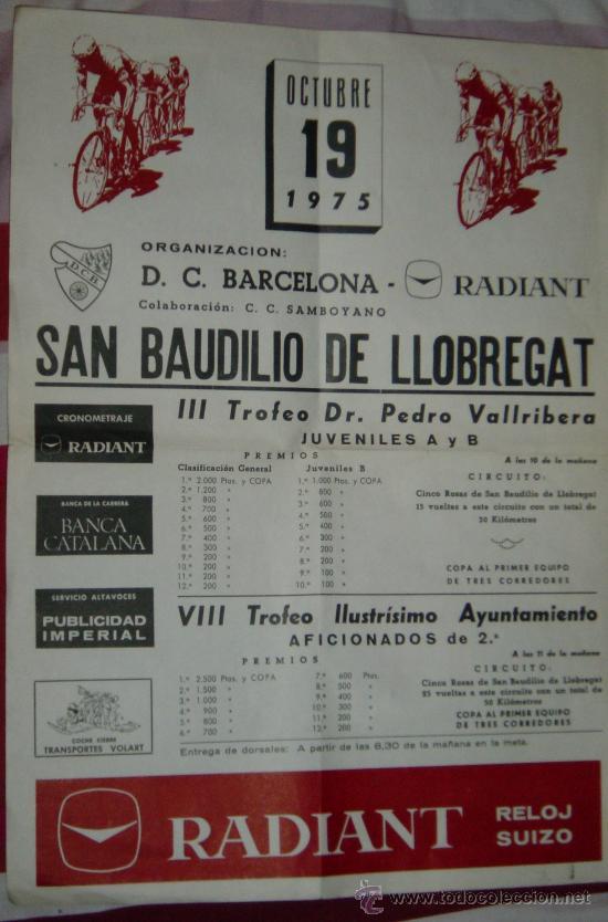 CARTEL PUBLICITARIO III TROFEO DR. PEDRO VALLRIBERA (Coleccionismo - Carteles Gran Formato - Carteles Varios)