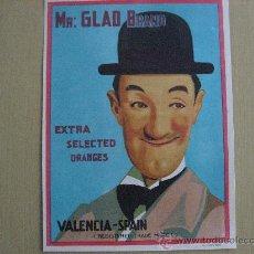 Carteles: ETIQUETA/CARTEL PUBLICITARIO DE NARANJAS MR.GLAD BRAND.VALENCIA.EXTRA SELECTED ORANGES.. Lote 27612167