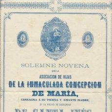 Carteles: SOLEMNE NOVENA QUE LA ASOCIACIÓN DE LAS HIJAS DE LA INMACULADA CONCEPCIÓN DE MARÍA. IGLESIA DE. Lote 22086340
