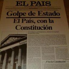 Carteles: CARTEL LAMINA DIARIO EL PAIS - PORTADA PERIODICO EN CARTON - GOLPE DE ESTADO 24 FEBRERO 1981. Lote 25115373