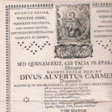Carteles: CONVOCATORIA RELIGIOSA(44X29,5) CAPILLA DEL CONVENTO DE LOS CARMELITAS.GRANADA 18 DEC,1769.. Lote 22327263