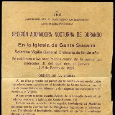 Carteles: SECCIÓN ADORACIÓN NOCTURNA DE DURANGO - 1924 - IMPRENTA DE DOLARA ELOSU. DURANGO. Lote 24107624