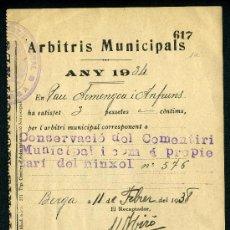 Carteles: BERGA ARBITRIS DE L'AJUNTAMENT DE 1934 DE CONSERVACIÓ DEL CEMENTIRI.. Lote 26696437