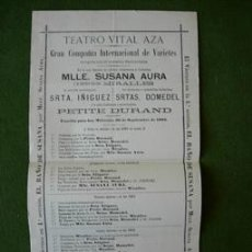 Carteles: CARTEL TEATRO VITAL AZA 1903 SANTAOLALLA , SUSANA AURA , MIRALLES , PETITE DURAND. Lote 26725745
