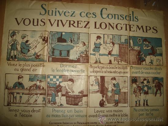 CARTEL FRANCES PARA LA PREVENCIÓN DE LA TUBERCULOSIS, PARÍS 1900 VER FOTOS (Coleccionismo - Carteles Gran Formato - Carteles Varios)