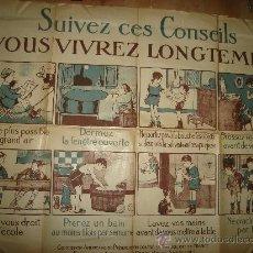 Carteles: CARTEL FRANCES PARA LA PREVENCIÓN DE LA TUBERCULOSIS, PARÍS 1900 VER FOTOS. Lote 29033621