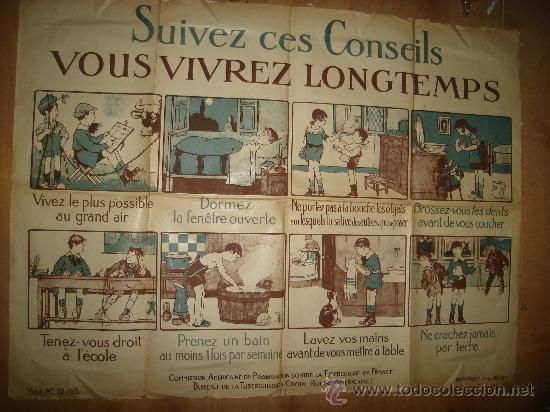 Carteles: CARTEL FRANCES PARA LA PREVENCIÓN DE LA TUBERCULOSIS, PARÍS 1900 VER FOTOS - Foto 3 - 29033621