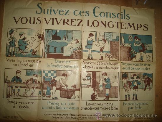 Carteles: CARTEL FRANCES PARA LA PREVENCIÓN DE LA TUBERCULOSIS, PARÍS 1900 VER FOTOS - Foto 2 - 29033621