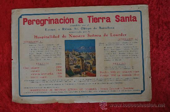 CARTEL DE PEREGRINACION A TIERRA SANTA, ANTIGUO. (Coleccionismo - Carteles Gran Formato - Carteles Varios)