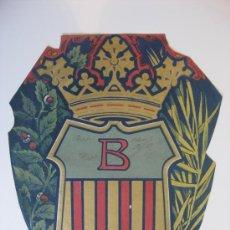 Carteles: PRECIOSO ESCUDO LITOGRAFICO TROQUELADO DE BAÑOLAS, GERONA, AÑOS 1890-1900. Lote 30086964