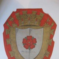 Carteles: PRECIOSO ESCUDO LITOGRAFICO TROQUELADO DE ROSES, GERONA, AÑOS 1890-1900. Lote 140374724