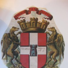 Carteles: PRECIOSO ESCUDO LITOGRAFICO TROQUELADO DE VALENCE, FRANCIA, AÑOS 1890-1900. Lote 30088566