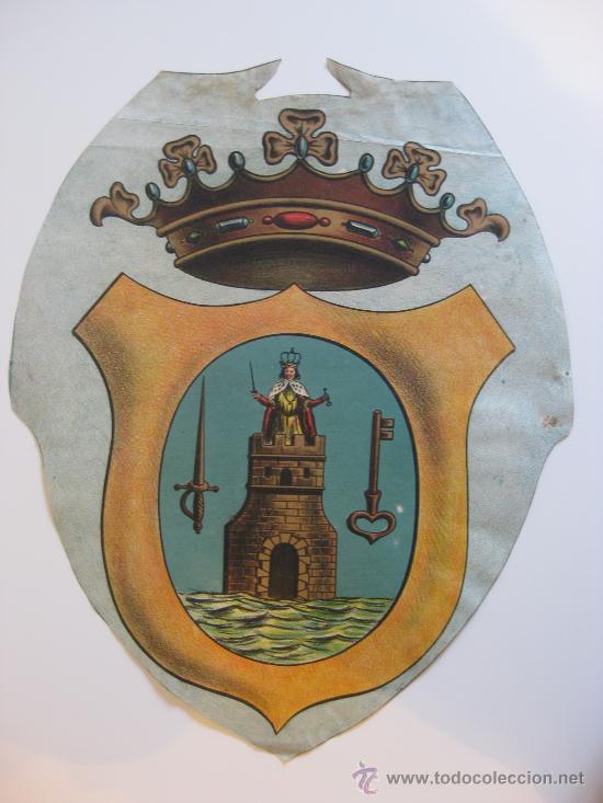 PRECIOSO ESCUDO LITOGRAFICO TROQUELADO DE LORCA, MURCIA, AÑOS 1890-1900 (Coleccionismo - Carteles Gran Formato - Carteles Varios)