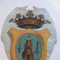 Carteles: PRECIOSO ESCUDO LITOGRAFICO TROQUELADO DE LORCA, MURCIA, AÑOS 1890-1900. Lote 30089556