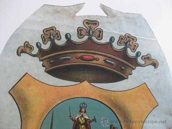 Carteles: PRECIOSO Escudo Litografico Troquelado de LORCA, MURCIA, años 1890-1900 - Foto 3 - 30089556