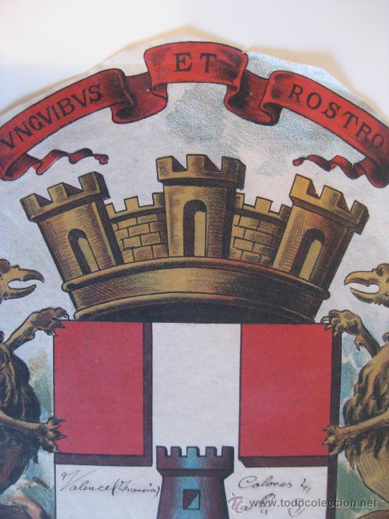 Carteles: PRECIOSO Escudo Litografico Troquelado de VALENCE, FRANCIA, años 1890-1900 - Foto 2 - 30088566