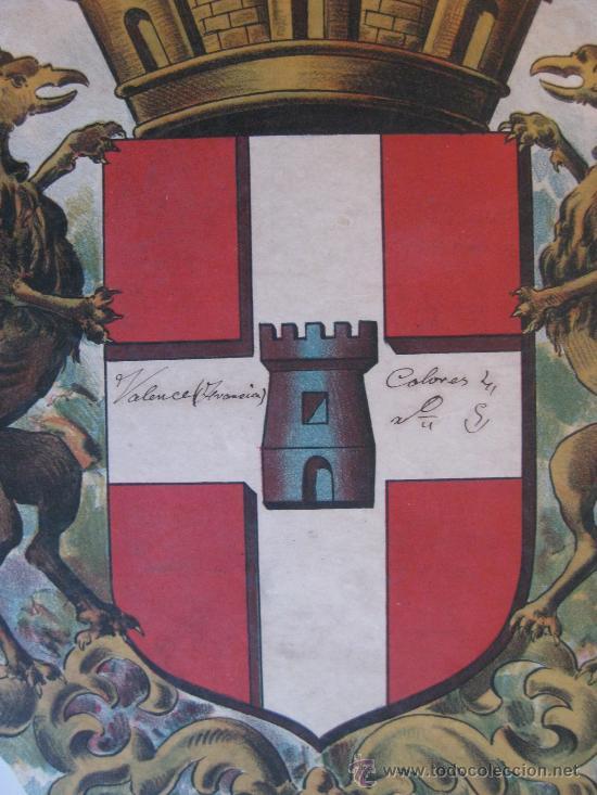 Carteles: PRECIOSO Escudo Litografico Troquelado de VALENCE, FRANCIA, años 1890-1900 - Foto 3 - 30088566