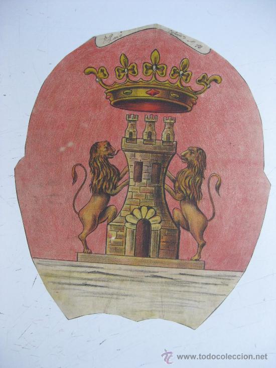 PRECIOSO ESCUDO LITOGRAFICO TROQUELADO DE HARO, LOGROÑO, AÑOS 1890-1900 (Coleccionismo - Carteles Gran Formato - Carteles Varios)